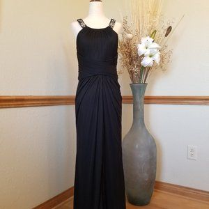Black Prom Dress with Beaded Neckline